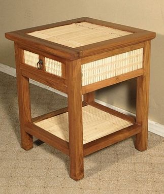 Custom Made Solid Mahogany Bamboo Nightstand Bedside Table