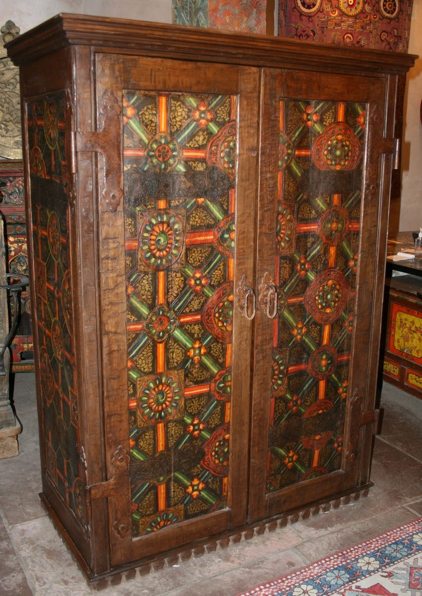 Hand Crafted Tibetan Panel Armoire By Seret Amp Sons