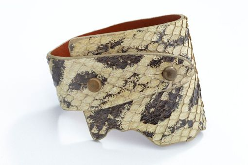 Custom Made Genuine Anaconda Wide-Wrap Luxury Bracelet In Bone (Off-White) - Exotic Leather