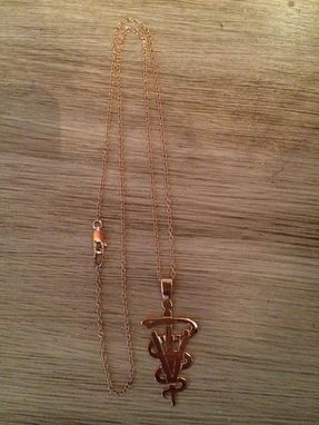 Custom Made Alec's Veterinarian Caduceus Rose Gold Pendant