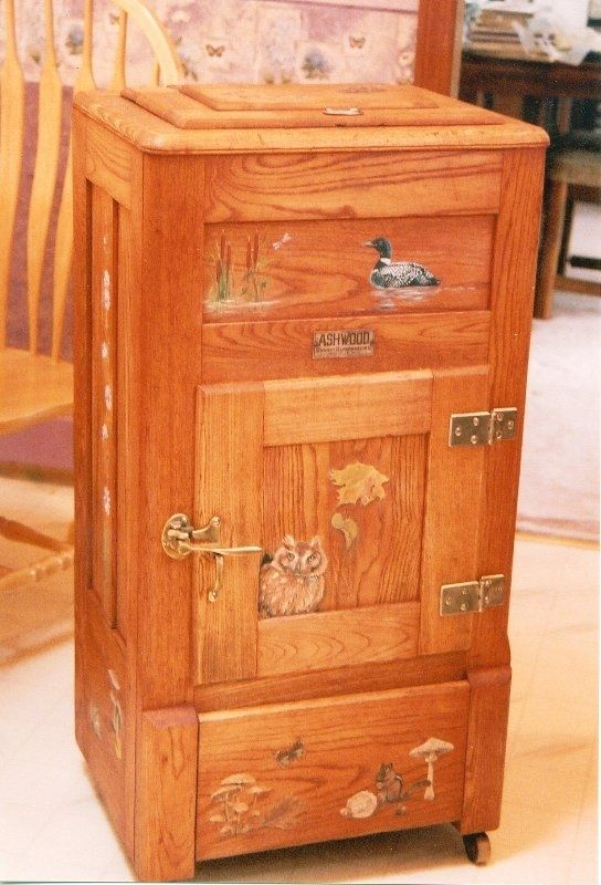 Custom Made Vintage Ice Box Painted With Woodland Flora And Fauna