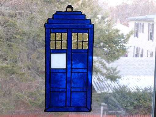Custom Made Fabulous Blue And Silver Tardis Stained Glass Ornament