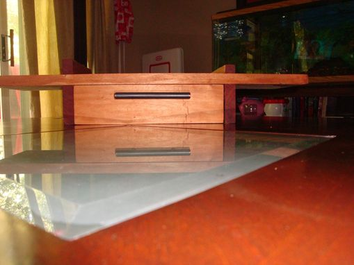 Custom Made African Mahogany Floating Shelf With Drawer