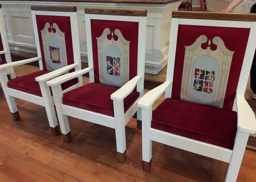 Custom Made Alter Chairs With Needlepoint And Cushions