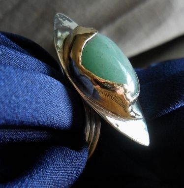 Custom Made Brass And Sterling Silver Ring With Aventurine Stone
