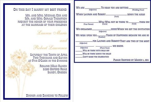 Custom Made 100 Fun And Modern Dandelion Sketch Wedding Invitations With Fun Mad Lib Rsvp