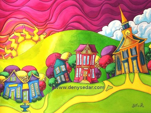 Custom Made Custom Watercolor Landscape Of Your Town Or City