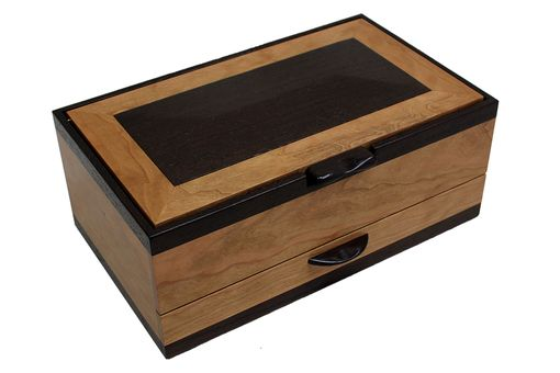 Custom Made Men's Watch & Pen Box | Solid Figured Cherry And Wenge