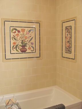 Custom Made Custom Ceramic Tile Panel: Persian Floral Pot + Borders