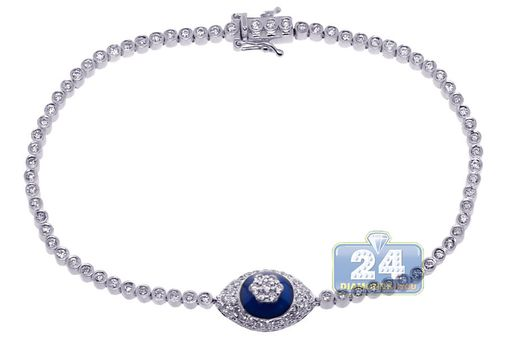 Custom Made Womens Diamond Evil Eye Bracelet 14k White Gold 1.47 Ct 7 1/2 Inches