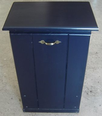 Custom Made New Solid Maple Wood Dark Blue Garbage Bin | Trash Can | Recycling Bin