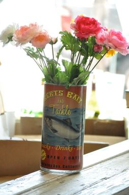 Custom Made Glass Luminary, Vase, Vintage Fishing Sign, Votive Tea Light, Candle Holder