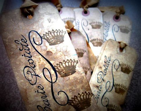 Custom Made French Inspired Hang Tags - Crowns Carte Postale - Set Of 6 - Black Sepia