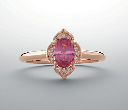 Custom Made Rose Gold Oval Morganite Ring Floral Halo Gemstone Ring 14k White Yellow Rose Gold - Affordable