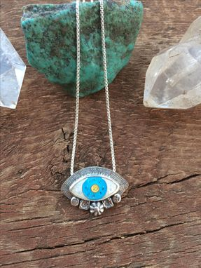 Custom Made Enamel Evil Eye Charm Necklace, Light Blue Enamel Evil Eye Necklace