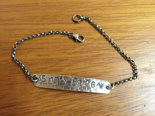 Custom Made Personalized Latitude Longitude Id Bracelet In Sterling Silver