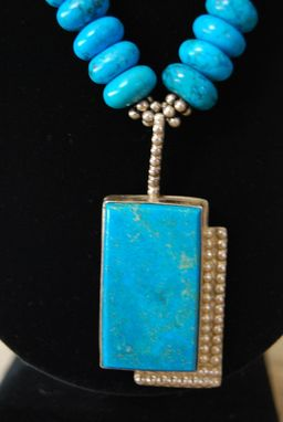 Custom Made Turquoise Statement Necklace With Sterling Silver And Easy Sterling Silver Clasp Contemporary Style