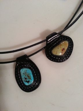 Custom Made Turquoise And Leather Necklace