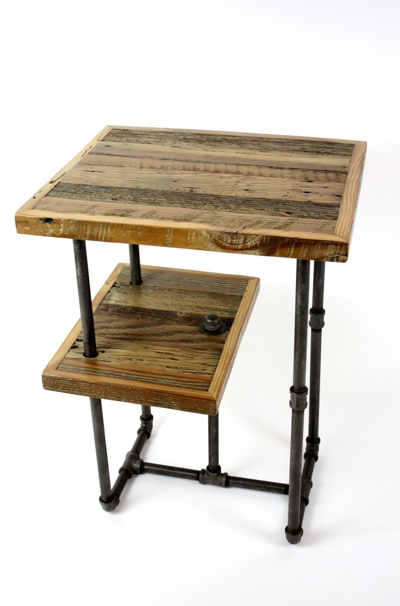 custom made 'galvy' industrial side tables  reclaimed wood nightstands. hand crafted 'galvy' industrial side tables  reclaimed wood