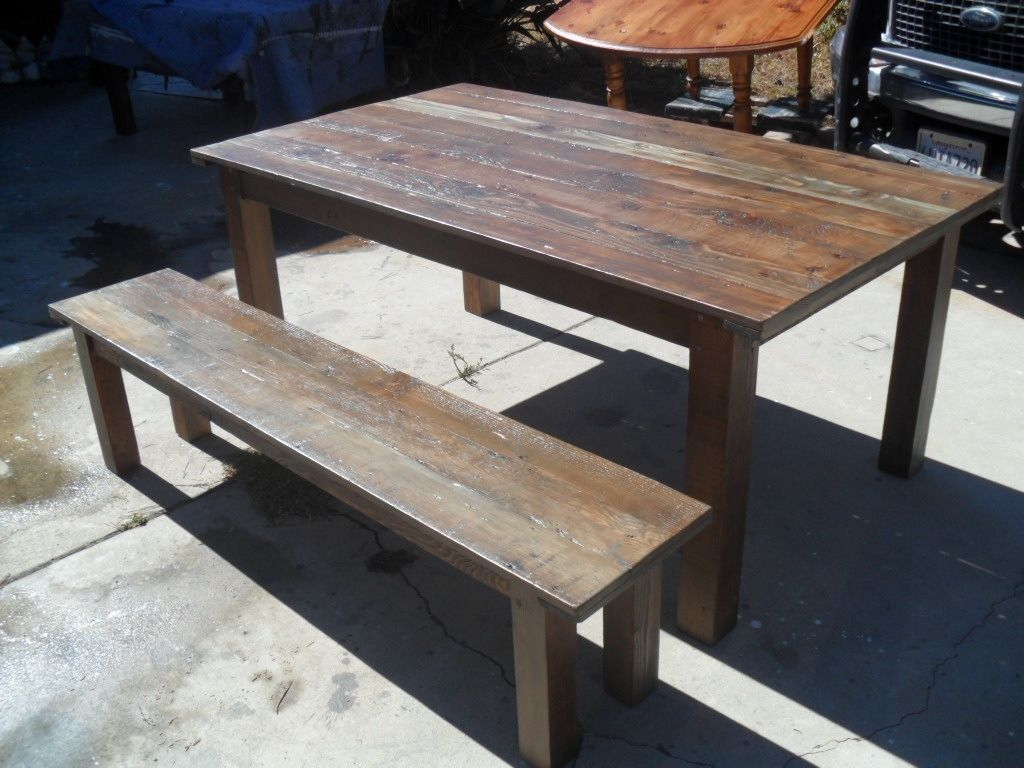 Hand Made Reclaimed Wood Dining Table And Bench Custom