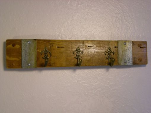 Custom Made Wine Barrel Key Rack With Fleur De Lis Hooks