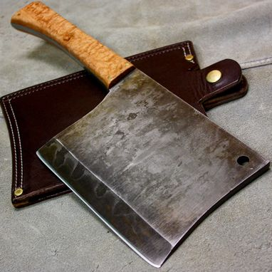 Custom Made Meat Cleaver For Butcher, Hogsplitter For Smoker Smoking, Bbq, Or Grilling; W2 Tool Steel With Hamon