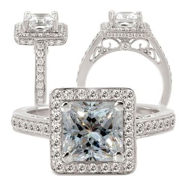 Custom Made 18k White Gold Diamond Engagement Ring Semi-Mount, Holds 6mm Princess Cut