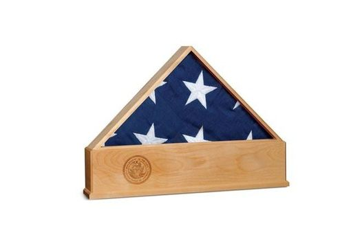 Custom Made Oak Us Flag Display Case With Engraved Navy Emblem