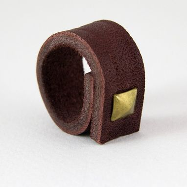 Custom Made Single Spike Ring On Leather Band - Brown