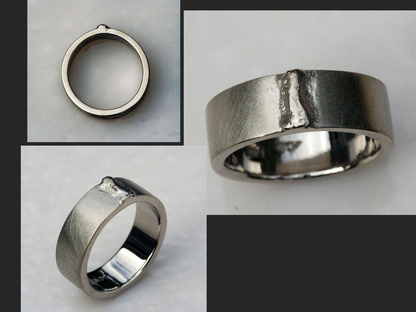 Custom Wite Gold Weld Bead Wedding Band By Cooperman Jewelry