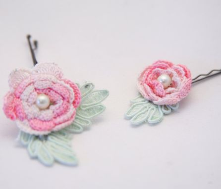Custom Made Vintage Flower Bobby Pins, Pink And Green, Women Hair Accessory