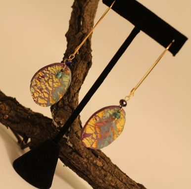 Custom Made Purple Marble, Gold Embossed, Aquamarine And Blue Iris Crystal Earring, Brass Wire Wrap