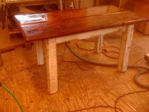 Custom Made Rustic Table W/ White Distressed Legs