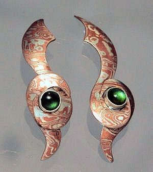 Custom Made Sterling Silver Copper Mokume Gane Hand Forged Pierced Earrings With Green Tourmaline Cabochons