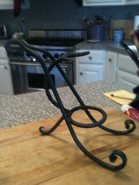 Custom Made Single Bottle Wine Stand With Optional Glass Holder