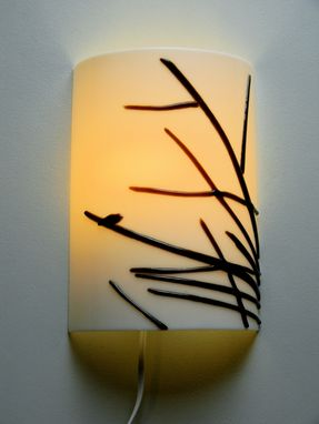 Custom Made Sparrow Silhouette Fused Glass Wall Sconce