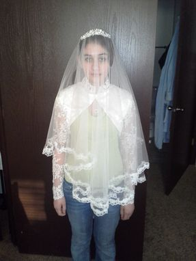 Custom Made Silk Drop Veil With Tiara - Princess Kate Middleton Replica