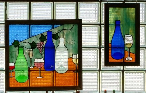 Custom Made Re-Purposed Wine Bottle Stained Glass Hanging Panel