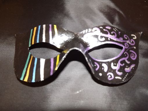 "Custom Made Custom Request For Handmade Leather Mardi Gras Mask For His ""Princess"""