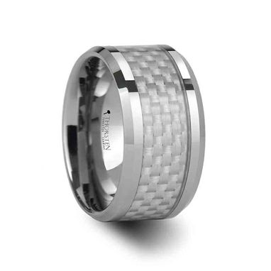 Custom Made Rockford Tungsten Carbide Ring With White Carbon Fiber Inlay - 12mm