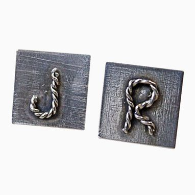 Custom Made Sterling Silver Initial Rope Cuff Links