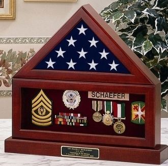 Custom Made Flag Display Case , Flag Medal And Base
