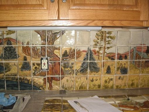 Hand Crafted Custom Wildlife Ceramic Tile Kitchen