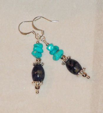 Custom Made Sodalite And Sleeping Beauty Turquoise Earrings In Silver-Plated