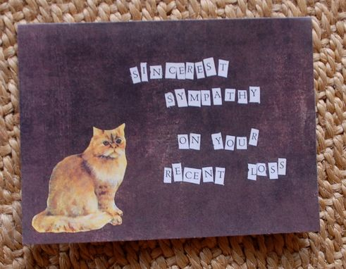 Custom Made Cat Sympathy Card In Brown
