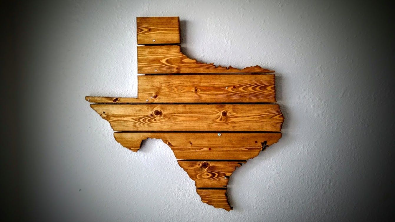 Hand Crafted Texas Wooden State Map Wall Art By Compass