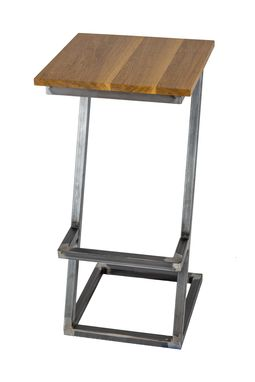 Custom Made Wood And Steel Barstool