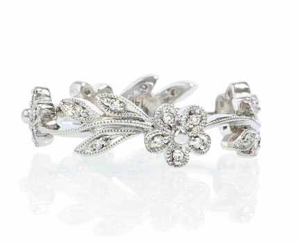 Custom Made Diamond Antique Style Floral Wedding Band Ring