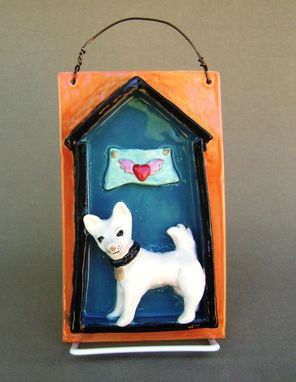 Custom Made Dog House Ceramic Tile With A Heart Banner, Wall Hanging