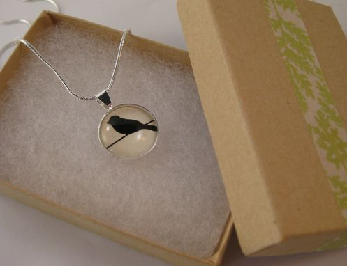 Custom Made Small Glass Pendant With Blackbird Silhouette Design On Silver Snake Chain Necklace